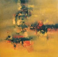 Fiery Ochre by Raju Durshettiwar, Abstract Painting, Acrylic on Canvas, Brown color
