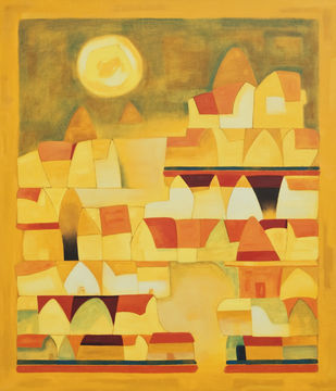 The Burning Afternoon by Dipak Asole, Decorative Painting, Oil on Canvas, Orange color