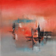 Settling Red by Raju Durshettiwar, Abstract Painting, Acrylic on Canvas, Brown color