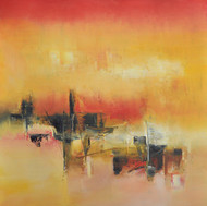 Subdued Ochre by Raju Durshettiwar, Abstract Painting, Acrylic on Canvas, Brown color