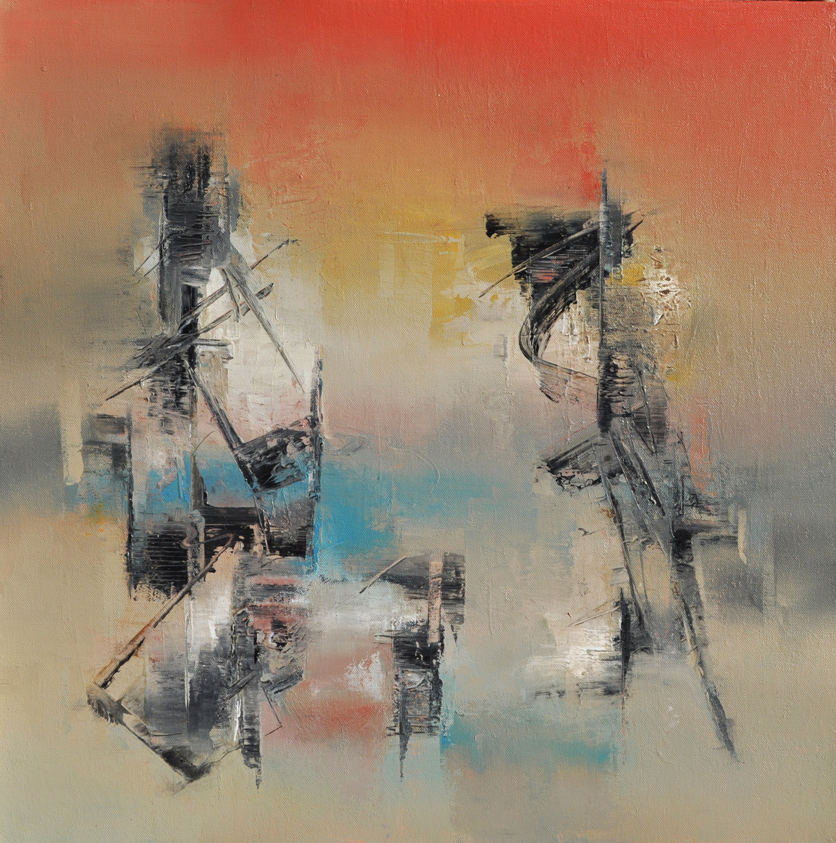 Urban Sunset by Raju Durshettiwar, Abstract Painting, Acrylic on Canvas, Brown color