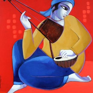 Baul by Sekhar Roy, Decorative Painting, Acrylic on Canvas, Red color