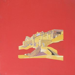 Heritage 7 by Ajay Mishra, Minmalism Painting, Acrylic on Canvas, Red color