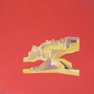 Heritage 7 by Ajay Mishra, Minimalism Painting, Acrylic on Canvas, Red color