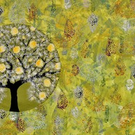 Vanvas by Sumit Mehndiratta, Art Deco Painting, Acrylic on Canvas, Green color