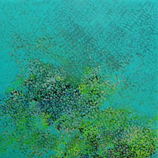 Swapna Dharaa 2 by Durgesh Birthare, Abstract Painting, Acrylic on Canvas, Cyan color
