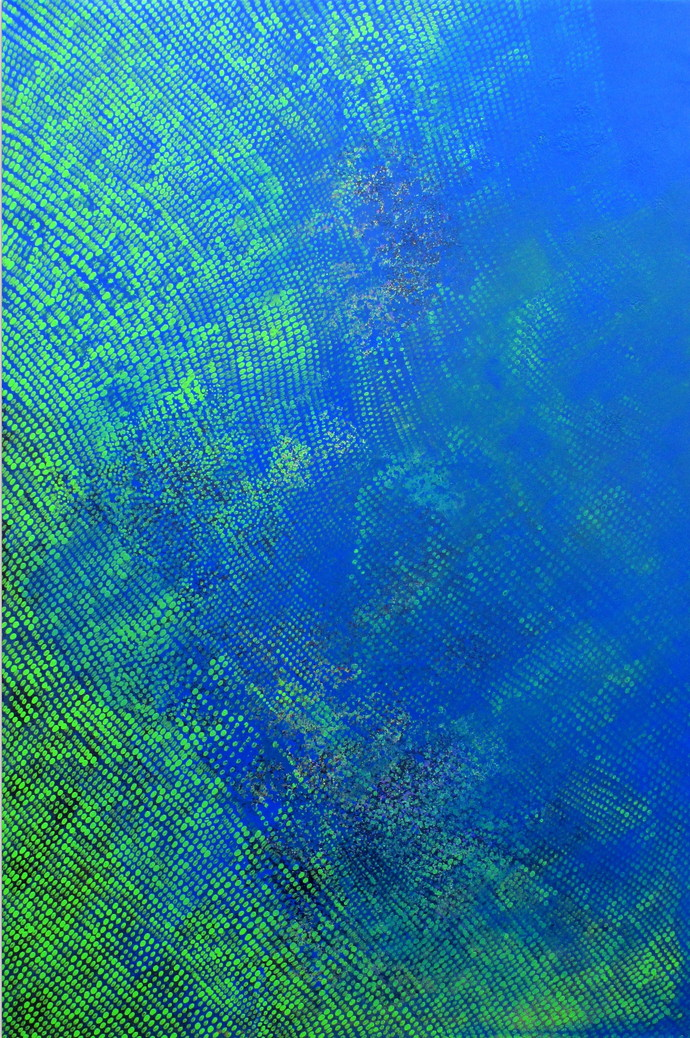 Swapna Dharaa 1 by Durgesh Birthare, Abstract Painting, Acrylic on Canvas, Blue color