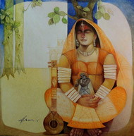 Meera by Arun Kumar Samadder, Painting, Oil on Canvas, Brown color