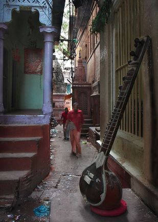 Lanes of Varanasi Seen from Within by Ashok Nath Dey, Image Photograph, Digital Print on Paper, Gray color