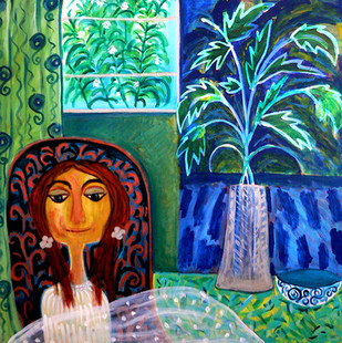 Within and Outside by Shefali Nayan, Naive Painting, Acrylic on Canvas, Green color