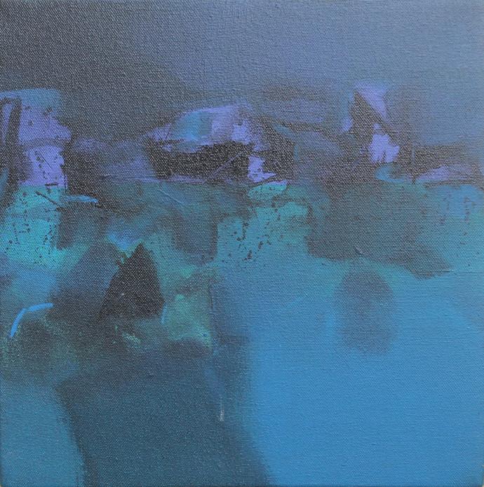 Untitled by Deepak Madhukar Sonar, Abstract Painting, Acrylic on Canvas, Blue color