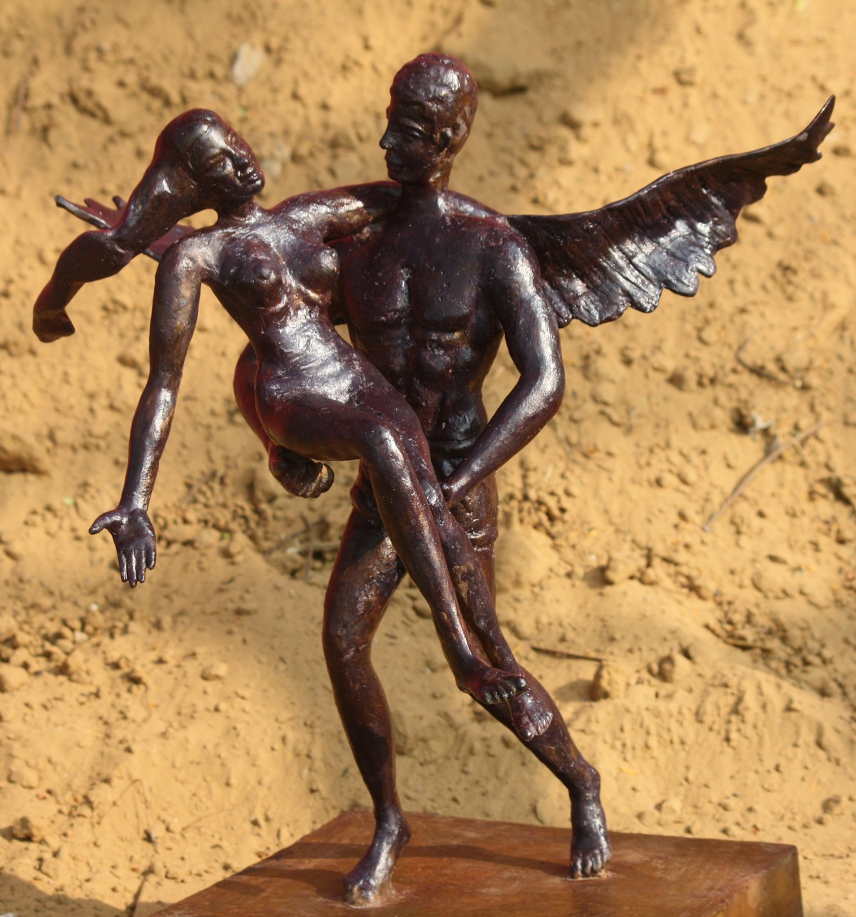 I will take you Above the Clouds by Gagan Vij, Decorative Sculpture | 3D, Bronze, Brown color