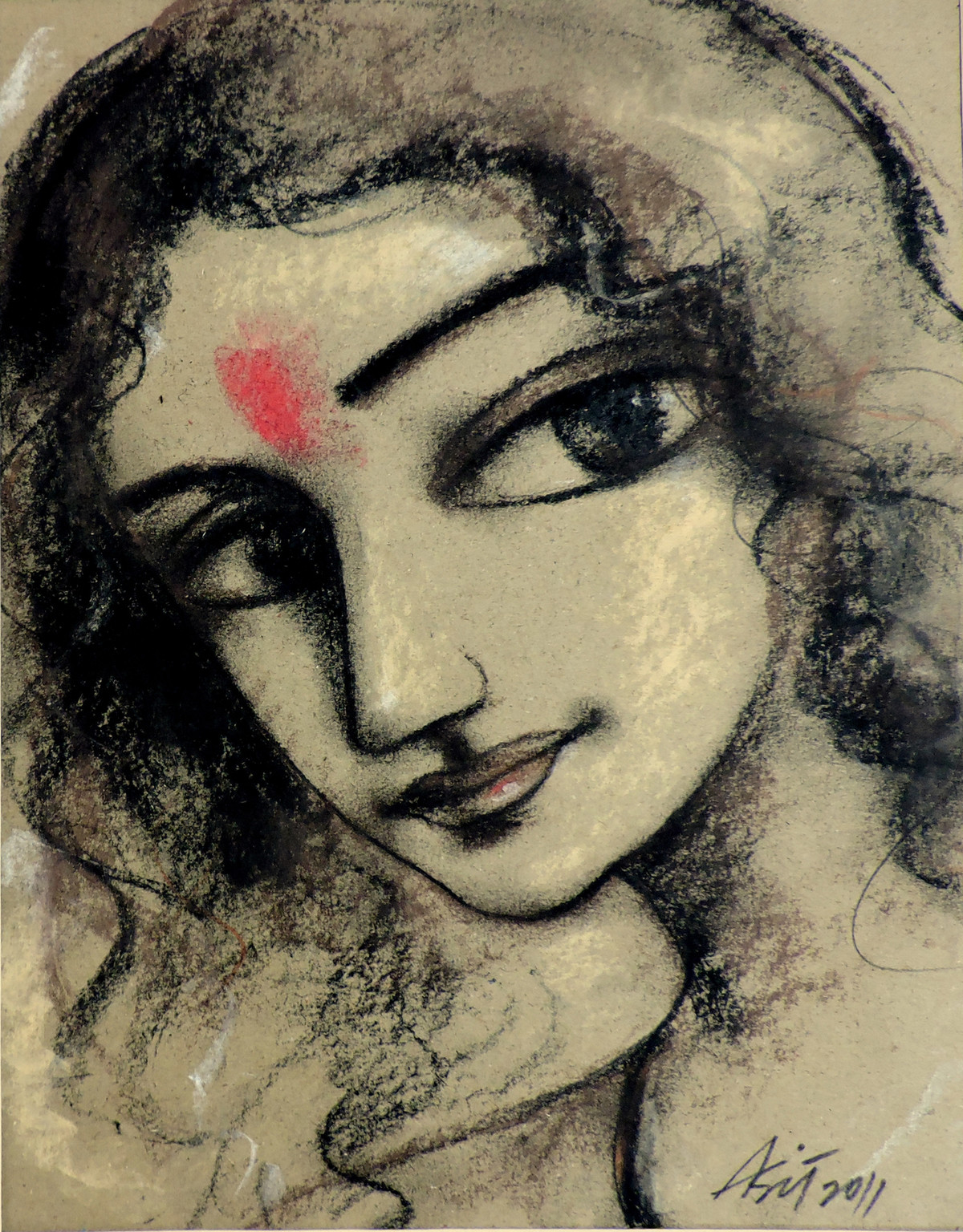 Radhika 2 by Asit Kumar Sarkar, Impressionism Drawing, Dry Pastel on Paper, Brown color