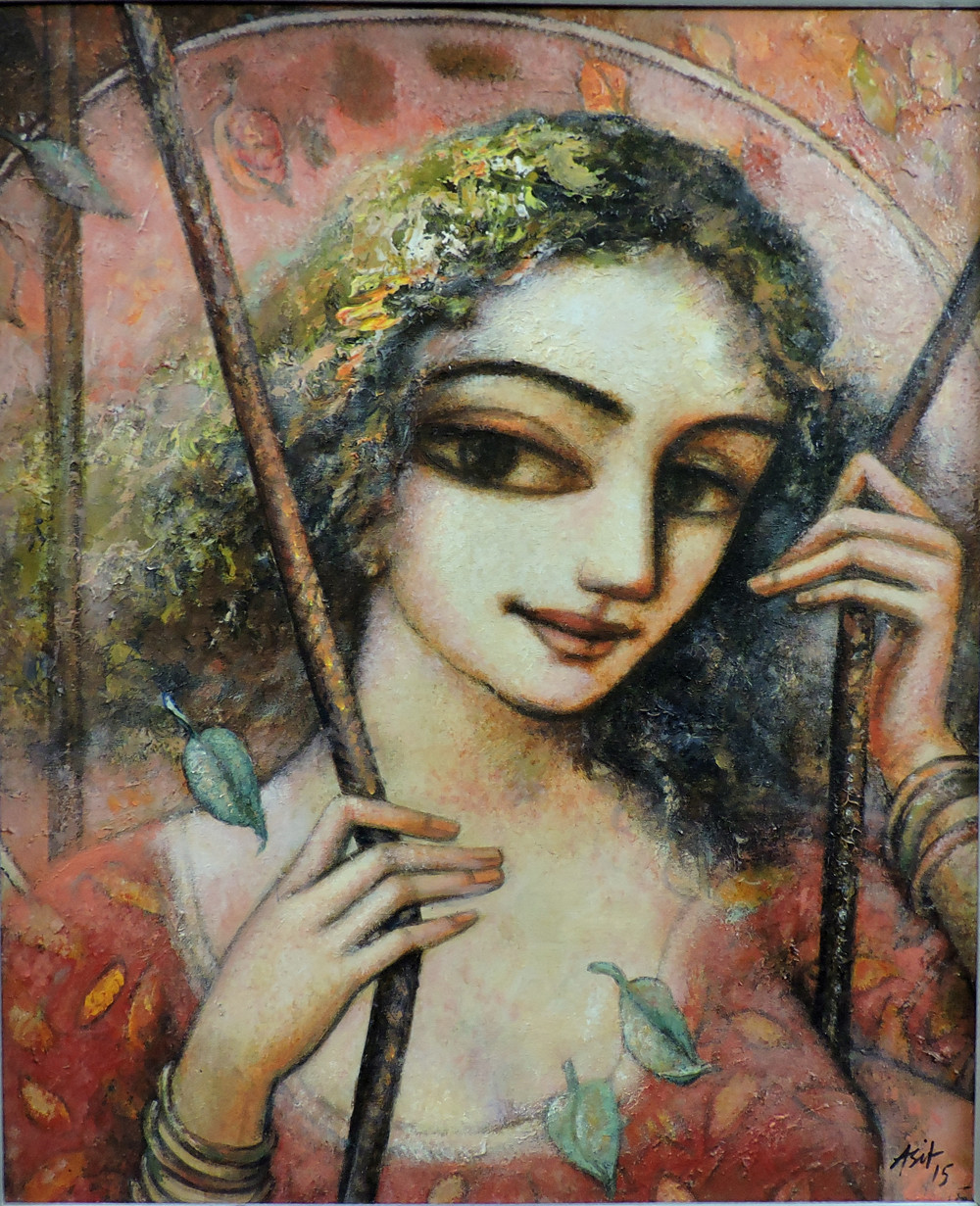 happyness.1 by Asit Kumar Sarkar, Impressionism Painting, Acrylic on Canvas, Brown color
