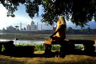 Taj Mahal by Manish Chauhan, Photography, Digital Print on Canvas, Green color