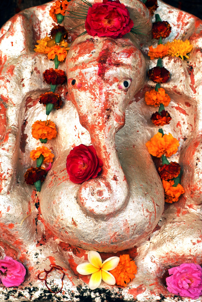 Shri Ganesh by Manish Chauhan, Image Photography, Digital Print on Canvas, Brown color