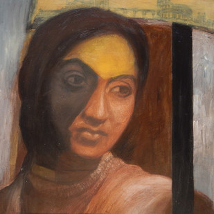 Sonali: Everything is Fair in Love and War by Debajyoti Das, Realism Painting, Acrylic on Canvas, Brown color