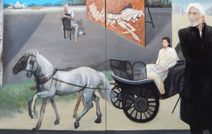 On Husain's Janadanandini by Debajyoti Das, Conceptual Painting, Acrylic on Canvas, Gray color
