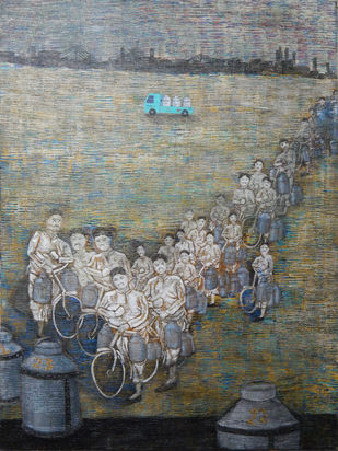 Riding out by Subhankar Chakraborty, Conceptual Painting, Acrylic on Canvas, Gray color