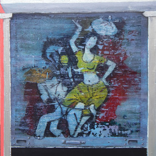 Azad Hind Dhaba by Gopal Chakraborty, Conceptual Painting, Mixed Media on Canvas, Blue color
