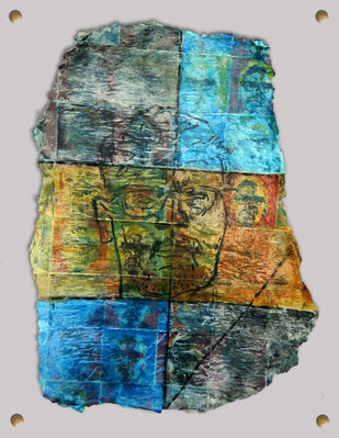Tribute to Husain's Ritwik Ghatak by Agnimitra Das, Conceptual Painting, Mixed Media on Board, Gray color