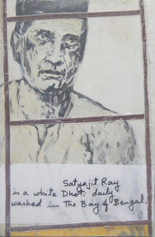 Tribute to Husain's Satyajit Ray by Agnimitra Das, Pop Art Painting, Mixed Media on Canvas, Gray color