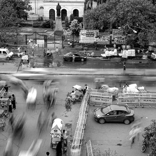 Rest and Motion : Old Delhi by Prabir Mitra, Image Photography, Digital Print on Paper, Gray color