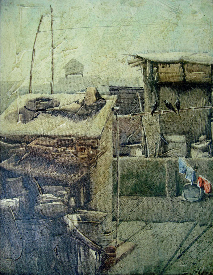 Kolkata by Tanoy Choudhury, Impressionism Painting, Acrylic on Canvas, Green color