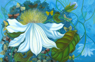 Flower in Blue by Debarati Roy Saha, Decorative Painting, Oil on Canvas, Cyan color
