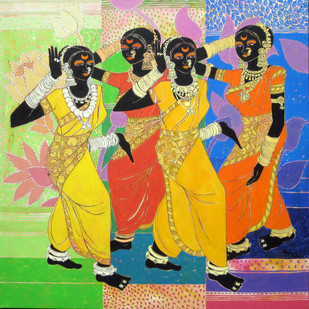 Transcending Rhythm 32 by Anuradha Thakur, Traditional Painting, Acrylic on Canvas, Beige color