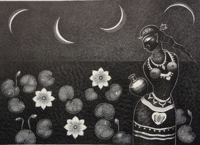 Padmini by Bhaskar Lahiri, Folk Drawing, Pen & Ink on Paper, Gray color