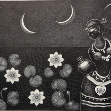 Padmini by Bhaskar Lahiri, Folk Drawing, Pen & Ink on Paper, Gray color
