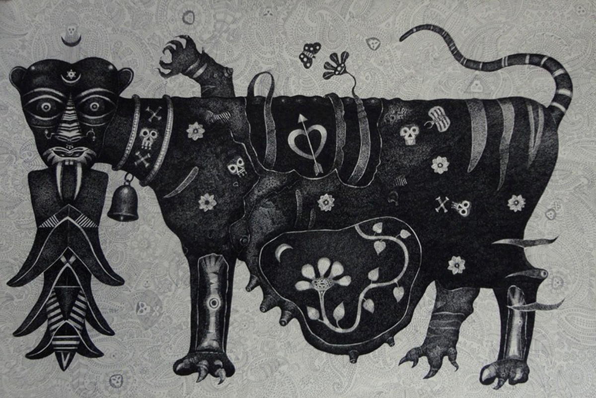 Tigress by Bhaskar Lahiri, Folk Drawing, Pen & Ink on Paper, Gray color