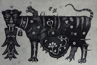 Tigress Digital Print by Bhaskar Lahiri,Folk