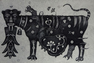Tigress by Bhaskar Lahiri, Folk Drawing, Pen & Ink on Paper, Gray color