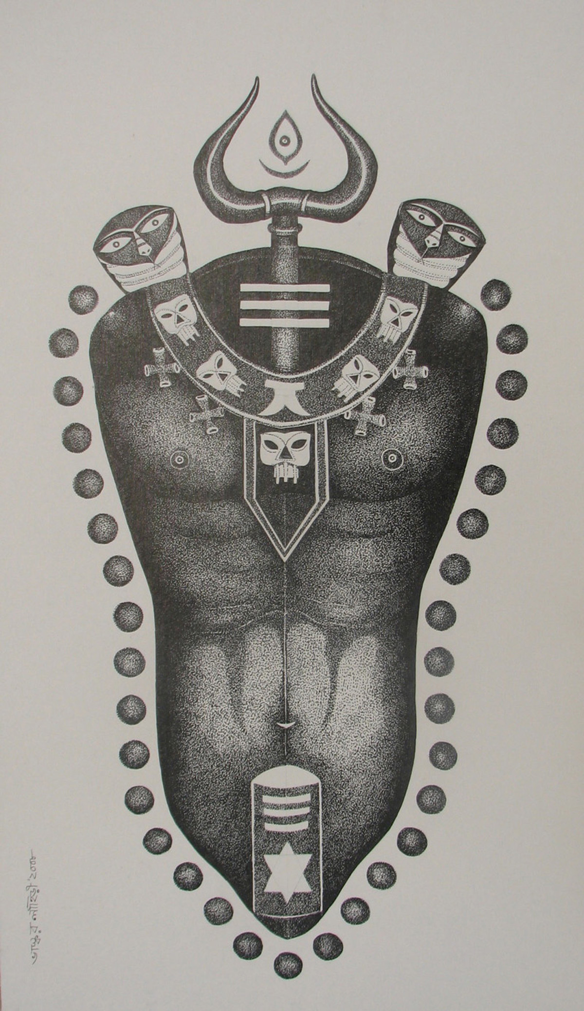 Lord Shiva by Bhaskar Lahiri, Decorative Drawing, Pen & Ink on Paper, Gray color