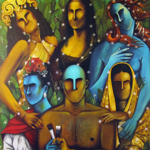 The Soiree by Syed Ali Arif, Expressionism Painting, Acrylic on Canvas, Brown color