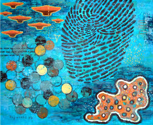 Fantasy by Rajarshi Chattopadhyay, Naive Painting, Acrylic on Board, Cyan color