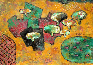 Nature by Rajarshi Chattopadhyay, Naive Painting, Acrylic on Board, Brown color
