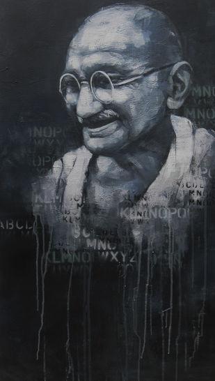 Impression of Gandhi - Painting by Anindya Mukherjee
