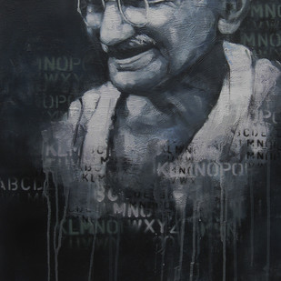 Impression of Gandhi by Anindya Mukherjee, Painting, Acrylic on Canvas, Gray color