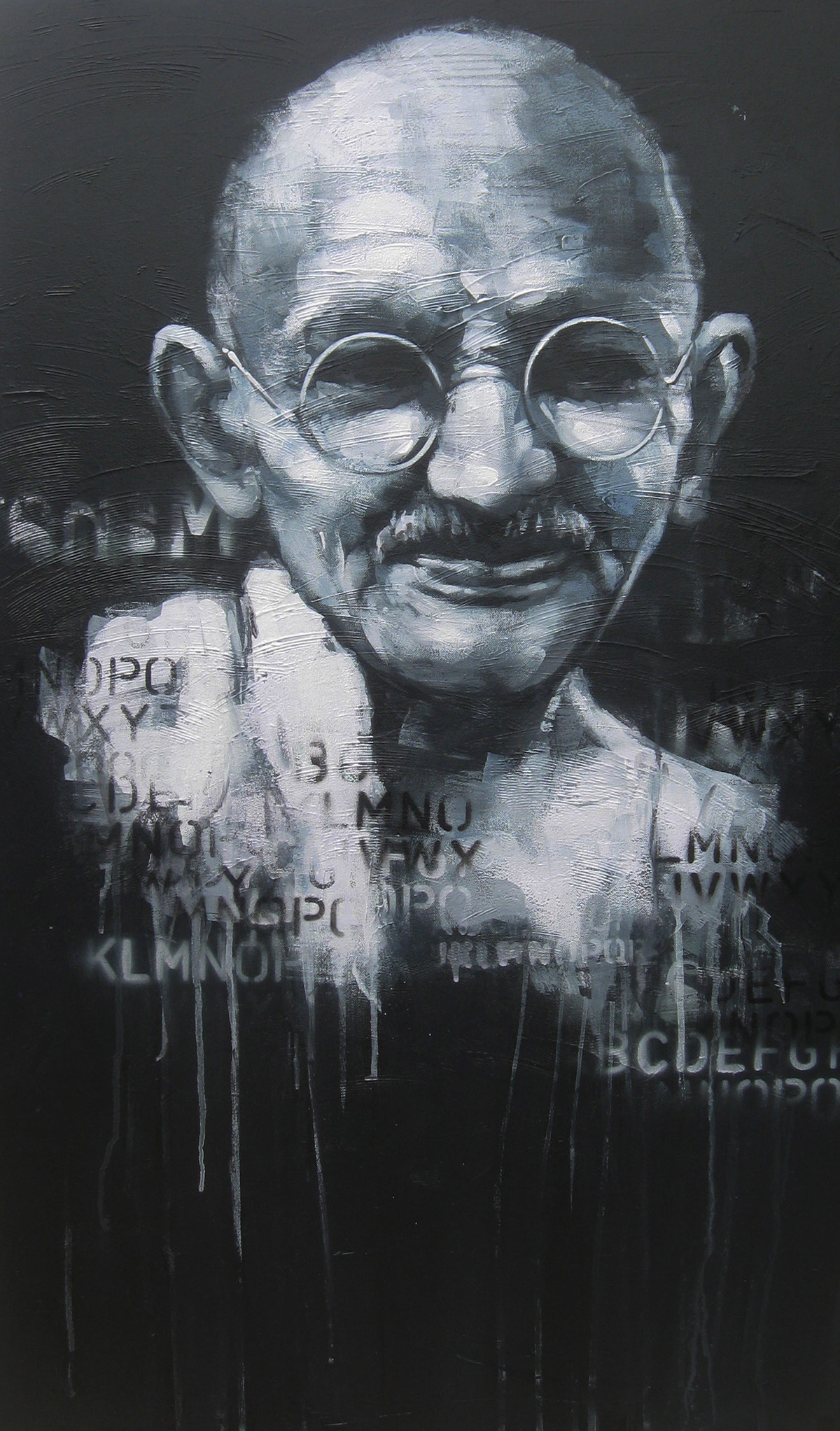 Impression of Gandhi 2 by Anindya Mukherjee, Painting, Acrylic on Canvas, Gray color