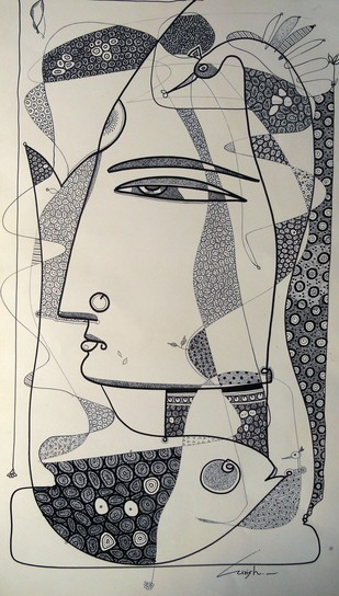 Drawing 1 by Girish Adannavar, Illustration Drawing, Ink on Paper, Beige color