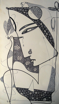 Drawing 2 by Girish Adannavar, Illustration Drawing, Ink on Paper, Beige color