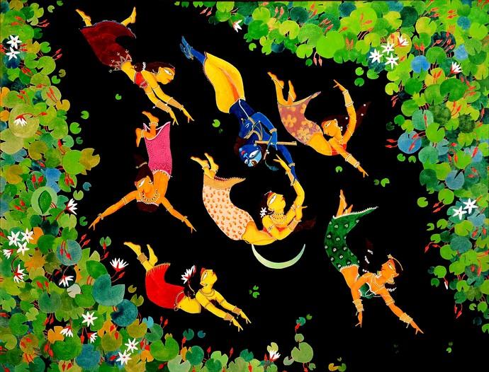 Ecstasy by Samik De, Fantasy Painting, Acrylic on Canvas, Green color