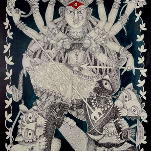 Dashabhuja by Samik De, Painting, Acrylic & Ink on Paper, Gray color