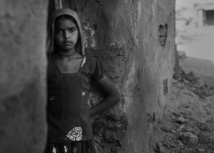 Village Girl by Jayati Saha, Image Photography, Digital Print on Paper, Gray color