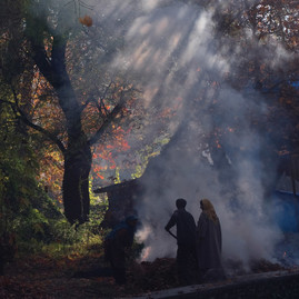 An Autumn Afternoon, Kashmir by Sugato Mukherjee, Image Photography, Digital Print on Canvas, Gray color