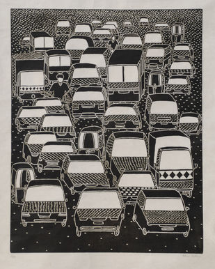The traffic Jam by Hemavathy Guha, Conceptual Printmaking, Wood Cut on Paper, Gray color
