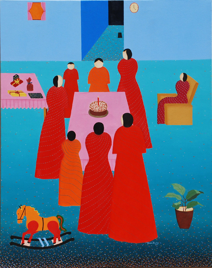 The Birthday Party by Hemavathy Guha, Painting, Oil on Canvas, Cyan color